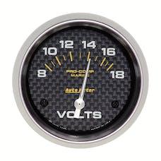 AutoMeter Products 200757-40 Gauge; Voltmeter; 2 5/8in.; 18V; Electric; Marine Carbon Fiber