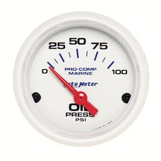 """AutoMeter Products 200758 Oil Pressure Gauge, Electric-Marine White 2 1/16"""", 100PSI"""