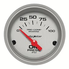 """AutoMeter Products 200758-33 Oil Pressure Gauge, Electric-Marine Silver 2 1/16"""", 100PSI"""