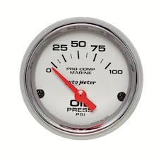"""AutoMeter Products 200758-35 Oil Pressure Gauge, Electric-Marine Chrome 2 1/16"""", 100PSI"""