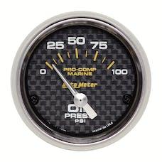 "AutoMeter Products 200758-40 Oil Pressure Gauge, Electric-Marine Carbon Fiber 2 1/16"", 100PSI"
