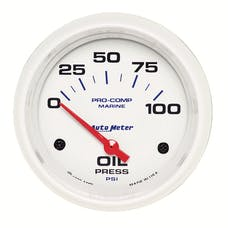 """AutoMeter Products 200759 Oil Pressure Gauge, Electric-Marine White  2 5/8"""", 100PSI"""