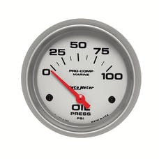 """AutoMeter Products 200759-33 Oil Pressure Gauge, Electric-Marine Silver 2 5/8"""", 100PSI"""