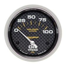 "AutoMeter Products 200759-40 Oil Pressure Gauge, Electric-Marine Carbon Fiber 2 5/8"", 100PSI"
