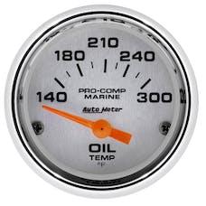 """AutoMeter Products 200764-35 Oil Temperature Gauge, Electric-Marine Chrome 2 1/16"""", 140-300Γö¼ΓòæF"""