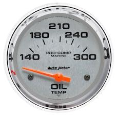 """AutoMeter Products 200765-35 Oil Temperature Gauge, Electric-Marine Chrome  2 5/8"""", 140-300Γö¼ΓòæF"""