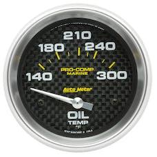 """AutoMeter Products 200765-40 Oil Temperature Gauge, Electric-Marine Carbon Fiber 2 5/8"""", 140-300Γö¼ΓòæF"""