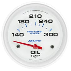 "AutoMeter Products 200765 Oil Temperature Gauge, Electric-Marine White  2 5/8"", 140-300Γö¼ΓòæF"