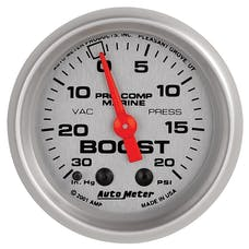 "AutoMeter Products 200774-33 Vacuum/Boost Gauge, Mechanical-Marine Silver  2 1/16"", 30INHG-20PSI"