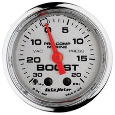 "AutoMeter Products 200774-35 Vacuum/Boost Gauge, Mechanical-Marine Chrome 2 1/16"", 30INHG-20PSI"