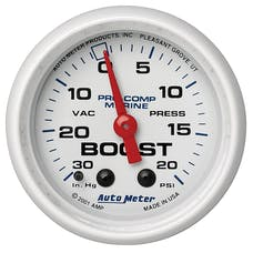 "AutoMeter Products 200774 Vacuum/Boost Gauge, Mechanical-Marine White  2 1/16"", 30INHG-20PSI"