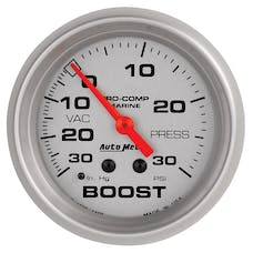 "AutoMeter Products 200775-33 Vacuum/Boost Gauge, Mechanical-Marine Silver  2 5/8"", 30INHG-30PSI"