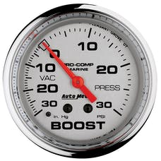 "AutoMeter Products 200775-35 Vacuum/Boost Gauge, Mechanical-Marine Chrome  2 5/8"", 30INHG-30PSI"