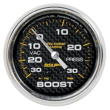 "AutoMeter Products 200775-40 Vacuum/Boost Gauge, Mechanical-Marine Carbon Fiber 2 5/8"", 30INHG-30PSI"