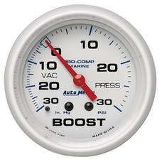 "AutoMeter Products 200775 Vacuum/Boost, Mechanical-Marine White  2 5/8"", 30INHG-30PSI"
