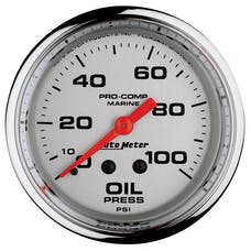 """AutoMeter Products 200777-35 Oil Pressure Gauge, Mechanical-Marine Chrome  2 5/8"""", 100PSI"""