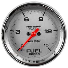 "AutoMeter Products 200848-35 Fuel Pressure Gauge, Marine Chrome  2 1/16"", 15PSI, Digital Stepper Motor"