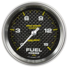 "AutoMeter Products 200848-40 Fuel Pressure Gauge, Marine Carbon Fiber 2 1/16"", 15PSI, Digital Stepper Mo"