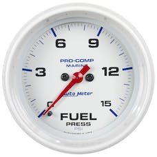"AutoMeter Products 200848 Fuel Pressure Gauge, Marine White  2 1/16"", 15PSI Digital Stepper Motor"