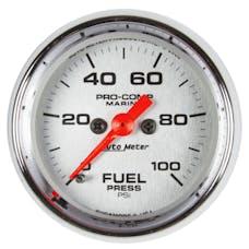 "AutoMeter Products 200850-35 Fuel Pressure Gauge, Marine Chrome 2 1/16"", 100PSI, Digital Stepper Motor"