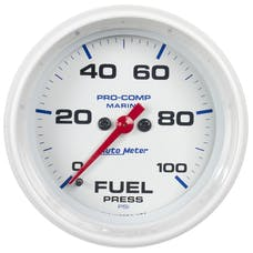 "AutoMeter Products 200851 Fuel Pressure Gauge, Marine White  2 5/8"", 100PSI Digital Stepper Motor"