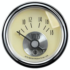 "AutoMeter Products 2092 2-1/16"" Voltmeter, 8-18, SSE, Prestige White"