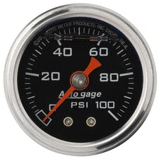 AutoMeter Products 2174 Auto Gage Series Dampened-Movement Pressure Gauge (Black, 0-100 PSI, 1-1/2 in.)