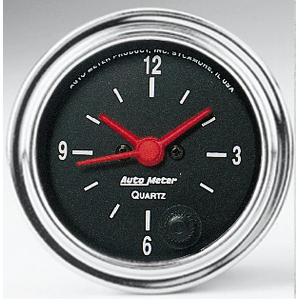 AutoMeter Products 2585 Gauge; Clock; 2 1/16in.; 12Hr; Analog; Traditional Chrome