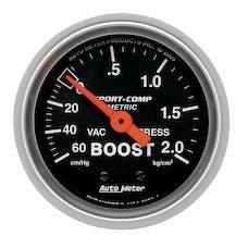 AutoMeter Products 3303-J Gauge; Vac/Boost; 2 1/16in.; 60cmHg-2.1kg/cm2; Mechanical; Sport-Comp