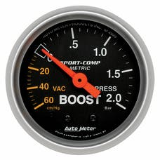 AutoMeter Products 3303-M Gauge; Vac/Boost; 2 1/16in.; 60cmHg-2.0BAR; Mechanical; Sport-Comp