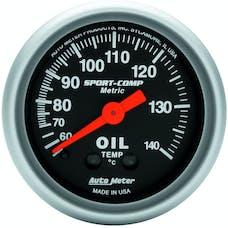 AutoMeter Products 3341-M Gauge; Oil Temp; 2 1/16in.; 60-140deg.C; Mechanical; Sport-Comp