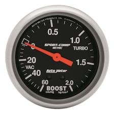 AutoMeter Products 3401-J Gauge; Vac/Boost; 2 5/8in.; 60cmHg-2.1kg/cm2; Mechanical; Sport-Comp