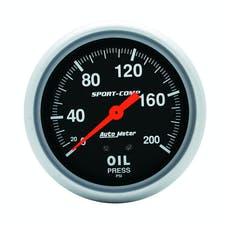 AutoMeter Products 3422 GAUGE; OIL PRESSURE; 2 5/8in.; 200PSI; MECHANICAL; SPORT-COMP