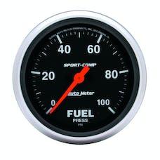 AutoMeter Products 3563 GAUGE; FUEL PRESSURE; 2 5/8in.; 100PSI; DIGITAL STEPPER MOTOR; SPORT-COMP