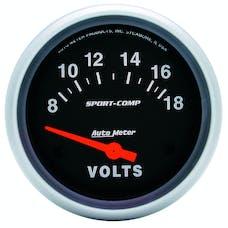 AutoMeter Products 3592 Gauge; Voltmeter; 2 5/8in.; 18V; Electric; Sport-Comp