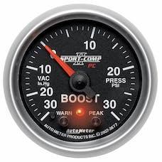 AutoMeter Products 3677 GAUGE; VAC/BOOST; 2 1/16in.; 30INHG-30PSI; STEPPER MOTOR W/PEAK/WARN; SPORT-COMP