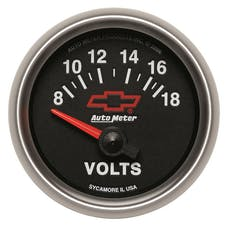"""AutoMeter Products 3692-00406 2-1/16"""" Voltmeter 8 18v Short Sweep Elec, GM Red Bowtie"""