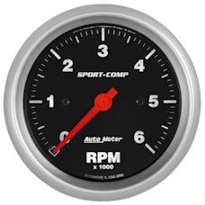 "AutoMeter Products 3996 Sport-Comp Gauge, Tachometer, 3 3/8"", 6k Rpm, In-Dash"