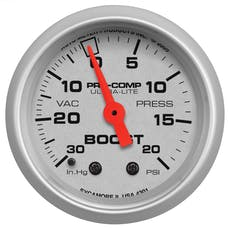 AutoMeter Products 4301 GAUGE; VAC/BOOST; 2 1/16in.; 30INHG-20PSI; MECHANICAL; ULTRA-LITE