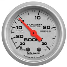 AutoMeter Products 4303 Gauge; Vac/Boost; 2 1/16in.; 30inHg-30psi; Mechanical; Ultra-Lite