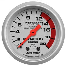AutoMeter Products 4328 Gauge; Nitrous Pressure; 2 1/16in.; 2000psi; Mechanical; Ultra-Lite