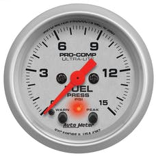 AutoMeter Products 4367 Fuel Pressure 2-1/16in 0-15 PSI  with Peak & Warn