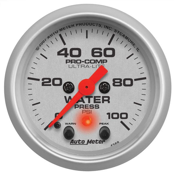 AutoMeter Products 4368 Water Pressure 2-1/16in 0-100 PSI - with Peak & Warn
