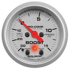 AutoMeter Products 4376 Gauge; Vac/Boost; 2 1/16in.; 30inHG-15psi; Stepper Motor w/Peak/Warn; Ultra-Lite