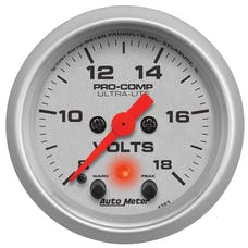 AutoMeter Products 4383 Voltmeter 2-1/16in 8-18V with peak & warn