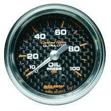 AutoMeter Products 4721 GAUGE; OIL PRESSURE; 2 1/16in.; 100PSI; MECHANICAL; CARBON FIBER