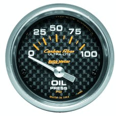 AutoMeter Products 4727 Gauge; Oil Pressure; 2 1/16in.; 100psi; Electric; Carbon Fiber