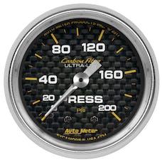 "AutoMeter Products 4734 Pressure Gauge 2 1/16"", 200psi, Mechanical, Carbon Fiber"