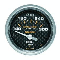 AutoMeter Products 4748 Gauge; Oil Temp; 2 1/16in.; 140-300deg.F; Electric; Carbon Fiber