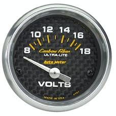 AutoMeter Products 4791 GAUGE; VOLTMETER; 2 1/16in.; 18V; ELECTRIC; CARBON FIBER